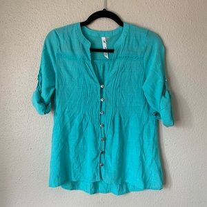 NY Collection Petite Teal Button Down Blouse